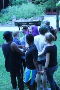 Campers playing the 'Knot Game'