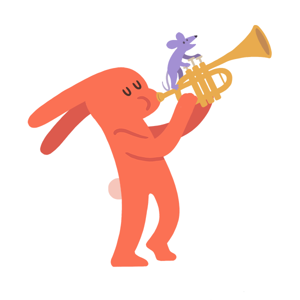 Cartoon rabbit playing a trumpet, a mouse pressing the keys